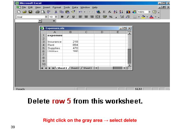 Right click on the gray area → select delete