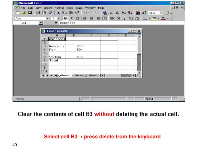 Select cell B3→ press delete from the keyboard