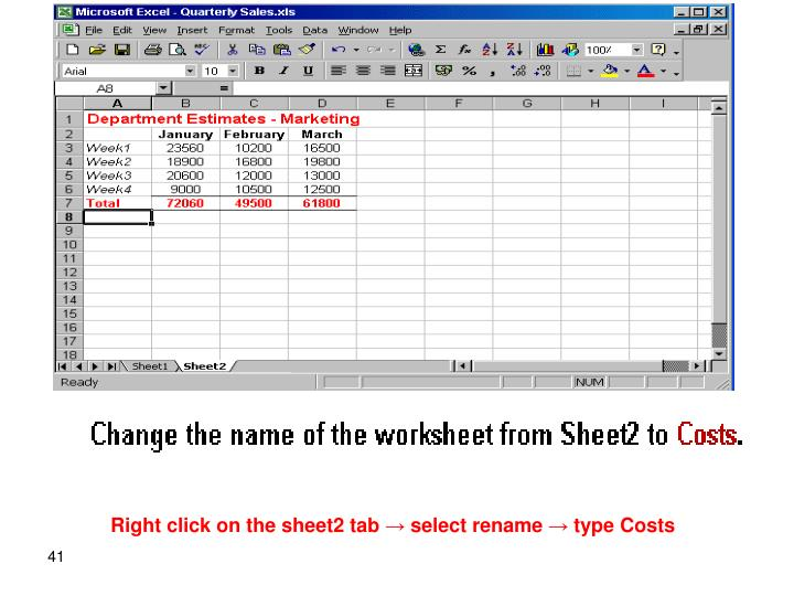 Right click on the sheet2 tab → select rename → type Costs