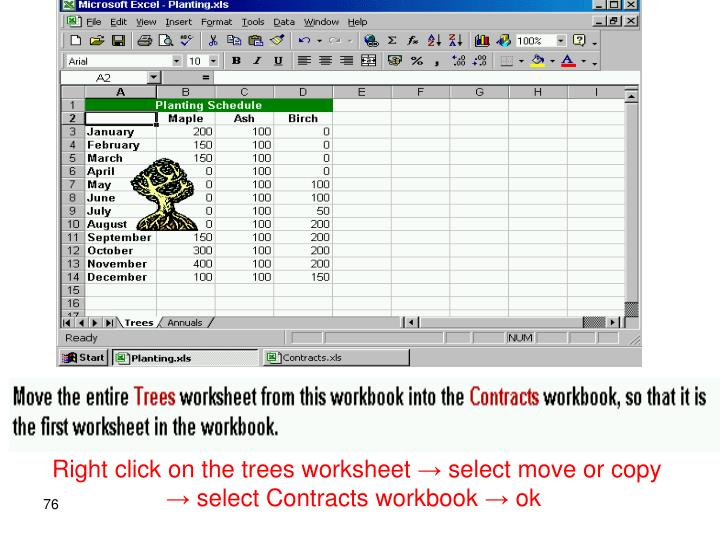 Right click on the trees worksheet → select move or copy → select Contracts workbook → ok