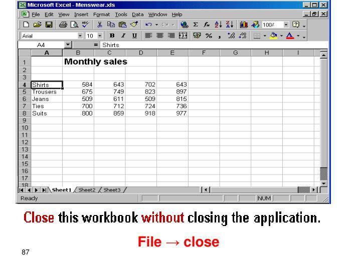 File → close