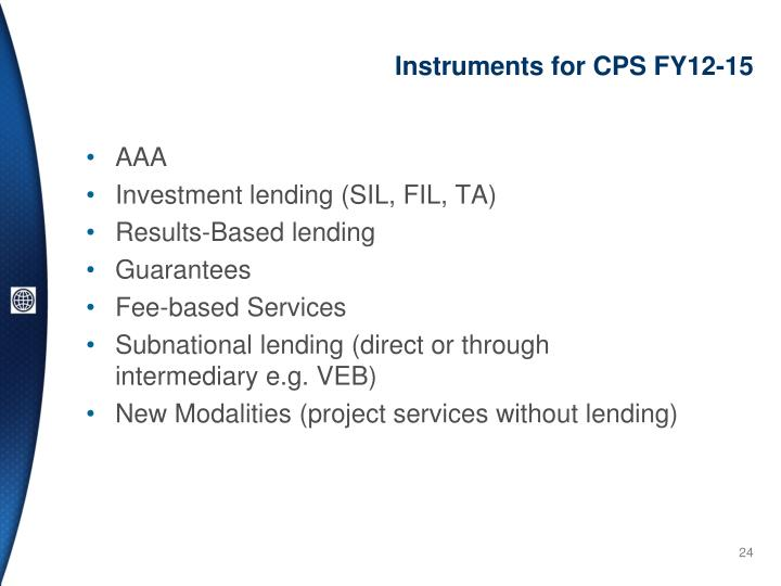 Instruments for CPS FY12-15