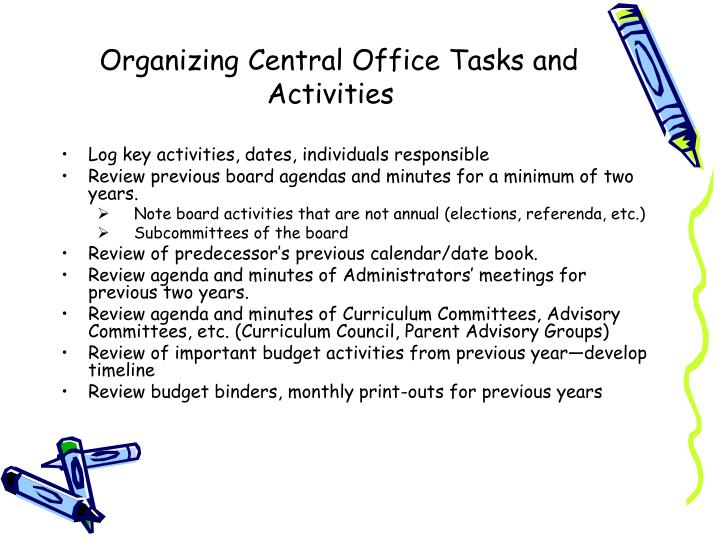 Organizing Central Office Tasks and Activities