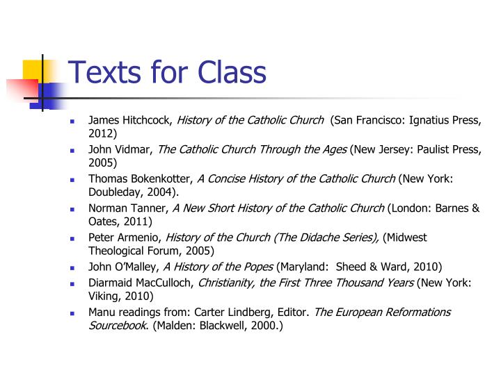 Texts for Class