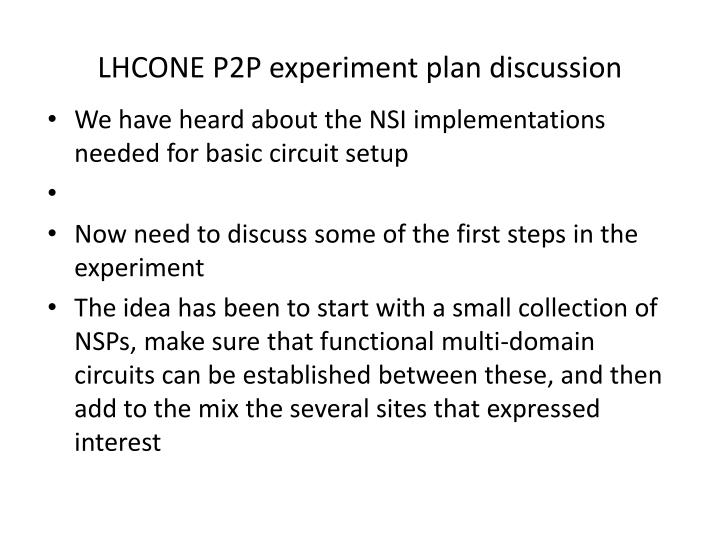 LHCONE P2P experiment plan discussion