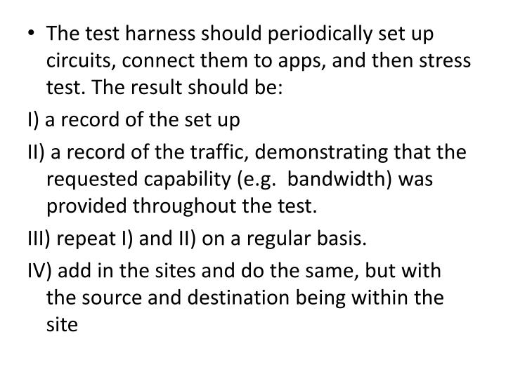 The test harness should periodically set up circuits, connect them to apps, and then stress test. Th...