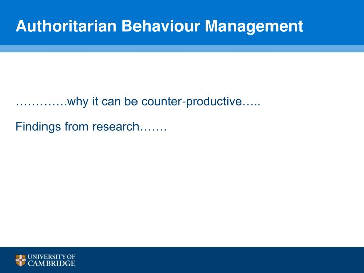 Authoritarian Behaviour Management
