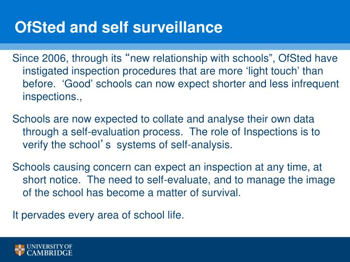 OfSted and self surveillance