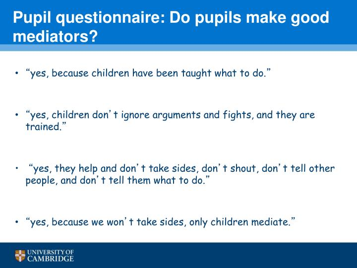 Pupil questionnaire: Do pupils make good mediators?