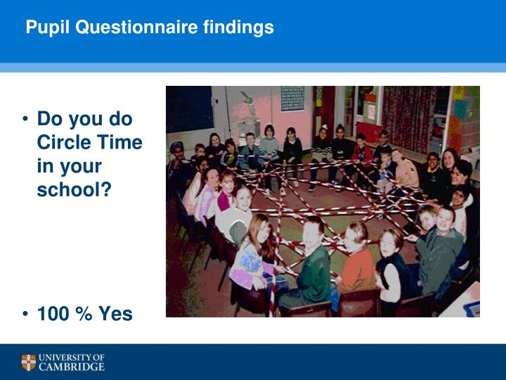 Pupil Questionnaire findings