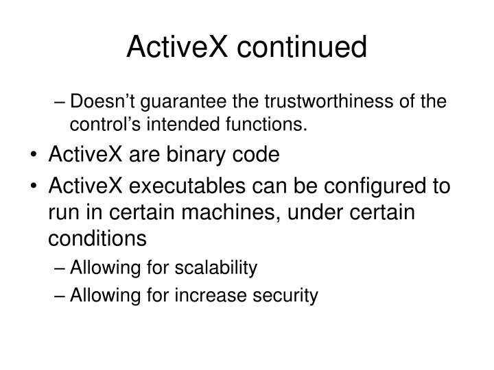 ActiveX continued