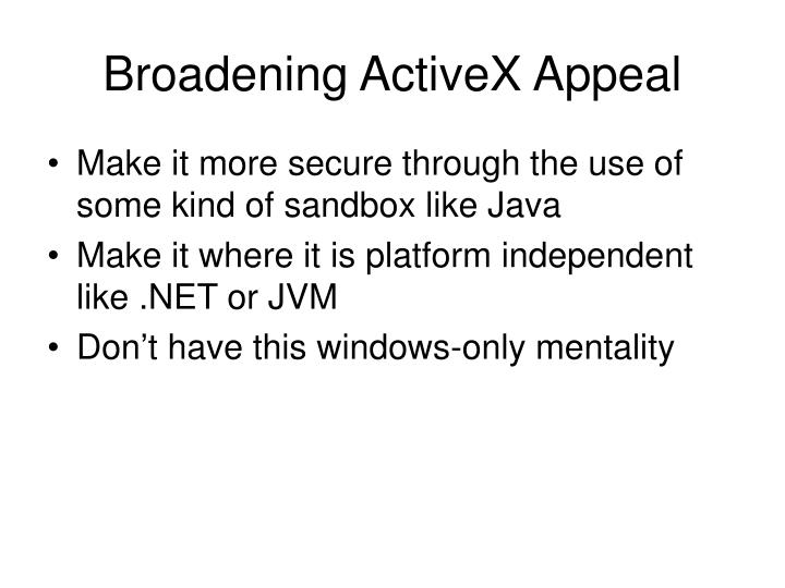 Broadening ActiveX Appeal