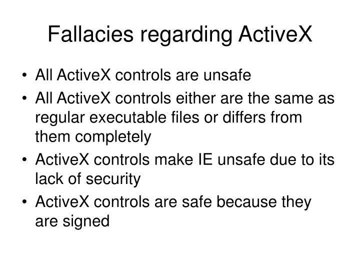 Fallacies regarding ActiveX