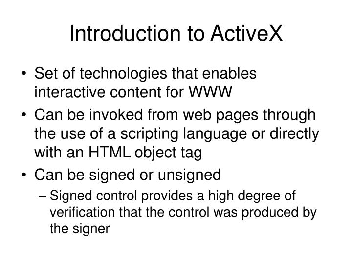 Introduction to ActiveX