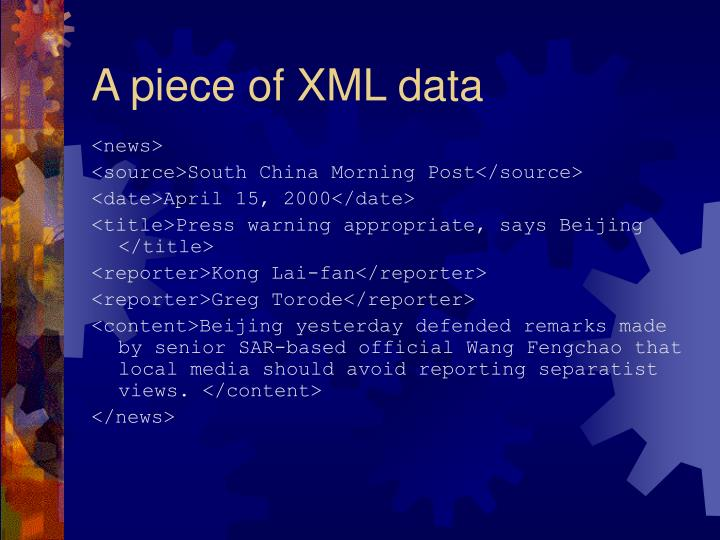 A piece of XML data