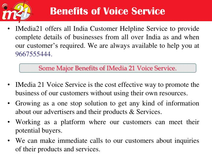 Benefits of Voice Service
