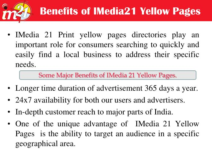 Benefits of IMedia21 Yellow Pages