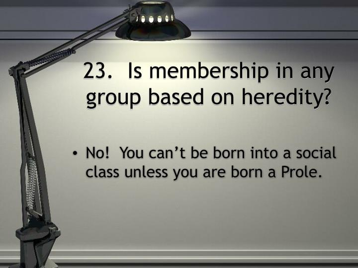 23.  Is membership in any group based on heredity?