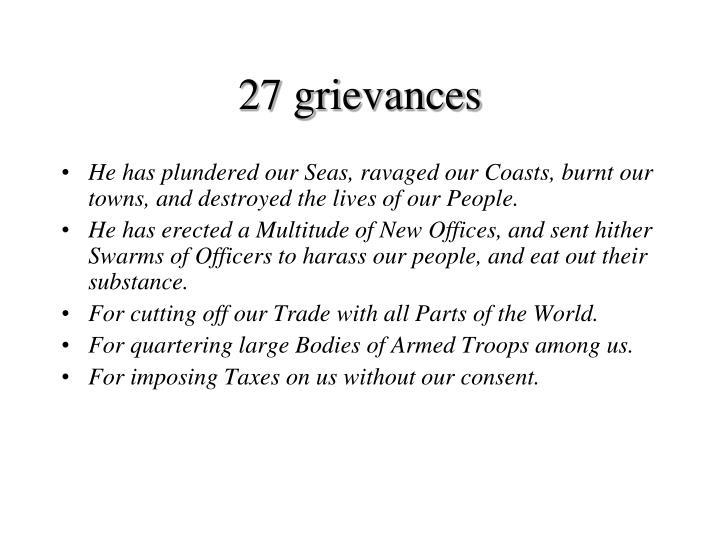 27 grievances