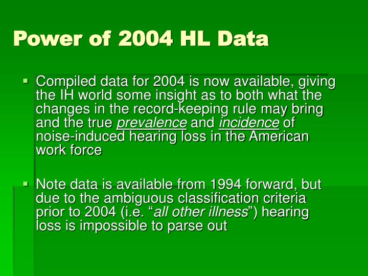 Power of 2004 HL Data