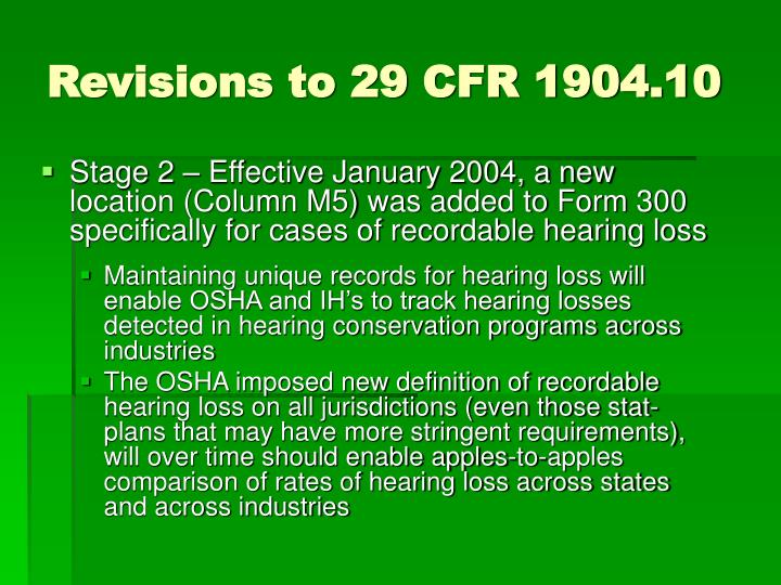 Revisions to 29 CFR 1904.10