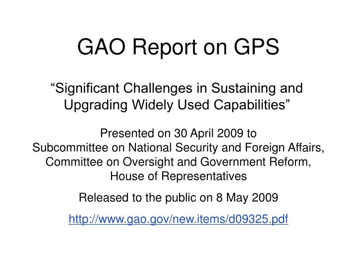 Gao report on gps