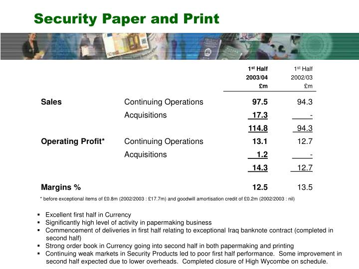 Security Paper and Print
