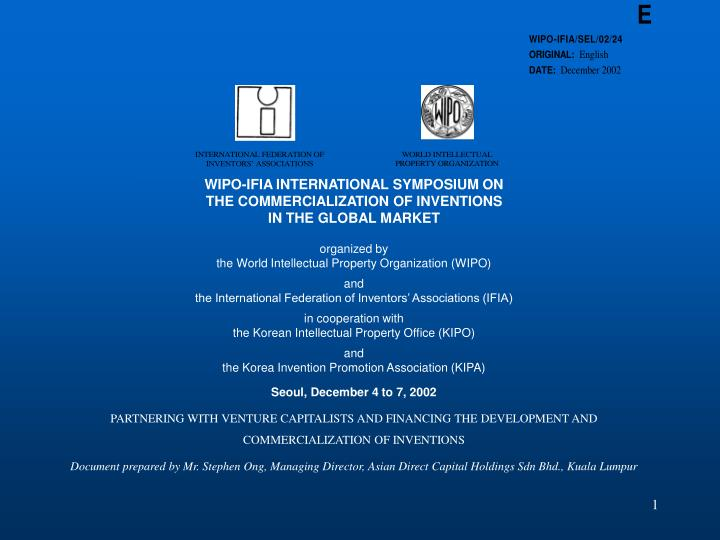 WIPO-IFIA INTERNATIONAL SYMPOSIUM ON