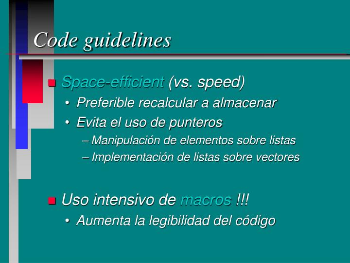 Code guidelines