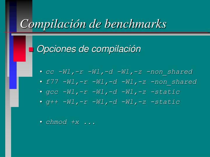 Compilación de benchmarks