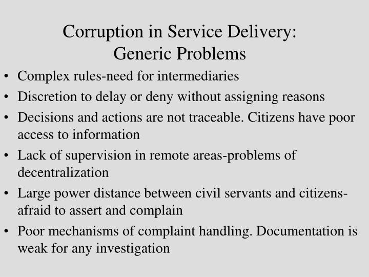 Corruption in Service Delivery: Generic Problems