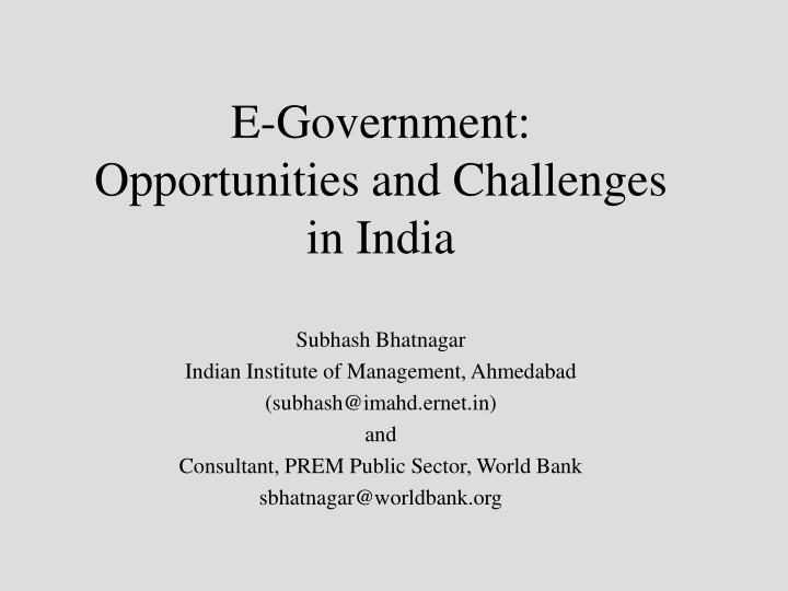 e government opportunities and challenges in india