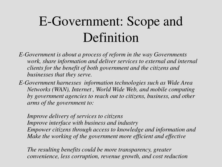 E-Government: Scope and Definition
