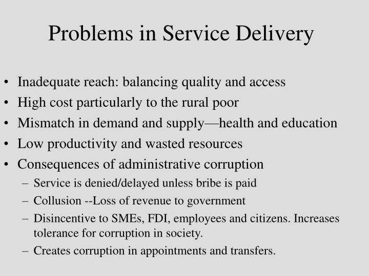 Problems in Service Delivery
