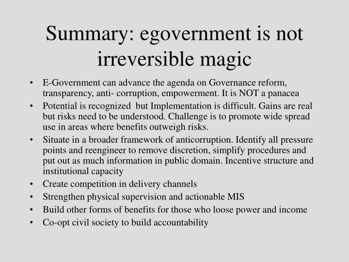 Summary: egovernment is not irreversible magic