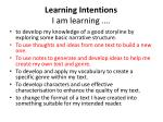 learning intentions i am learning