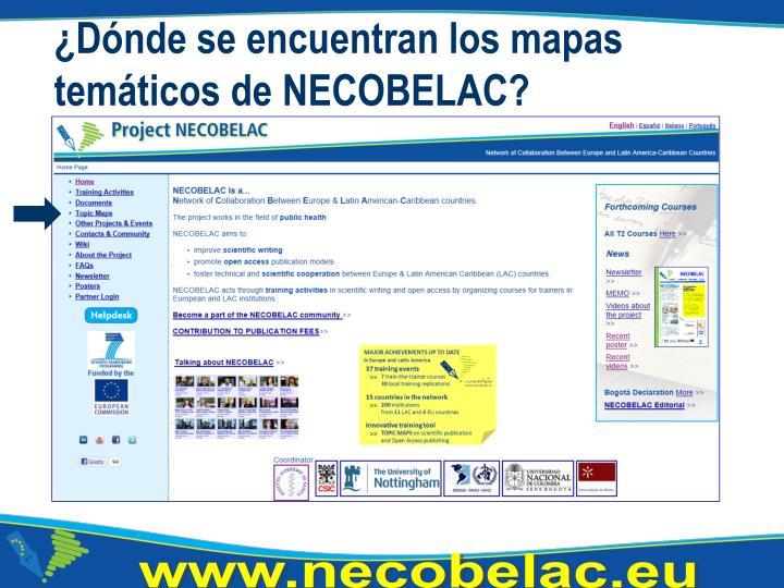 ¿Dónde se encuentran los mapas temáticos de NECOBELAC?