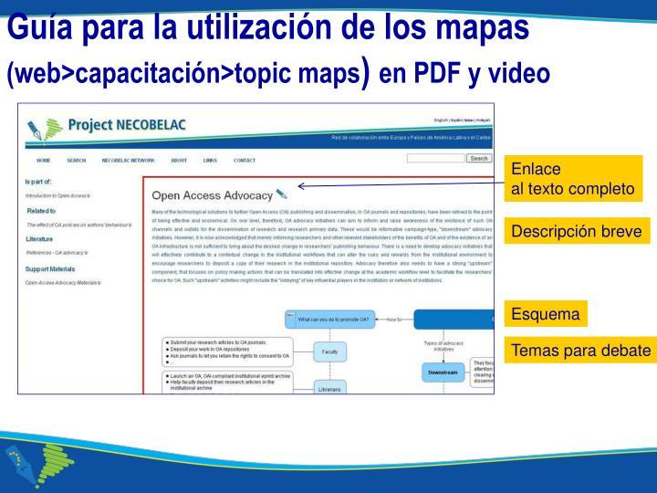 Guía para la utilización de los mapas