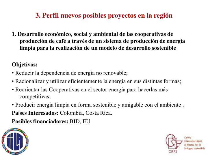 3. Perfil nuevos posibles proyectos en la región