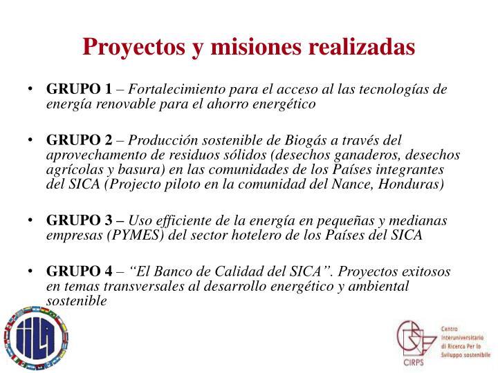 Proyectos y misiones realizadas
