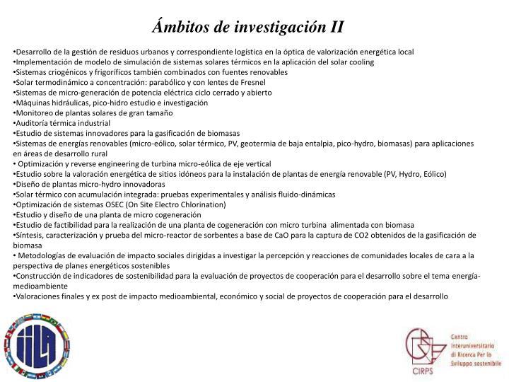 Ámbitos de investigación II