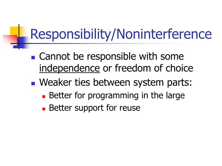 Responsibility noninterference