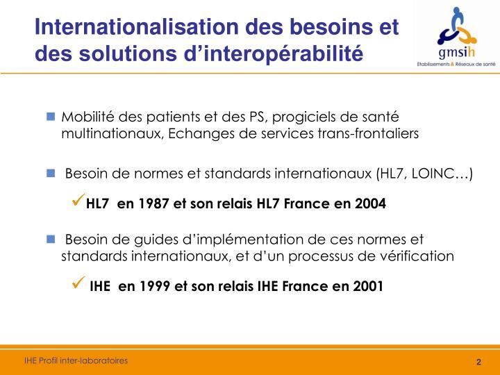 Internationalisation des besoins et des solutions d'interopérabilité