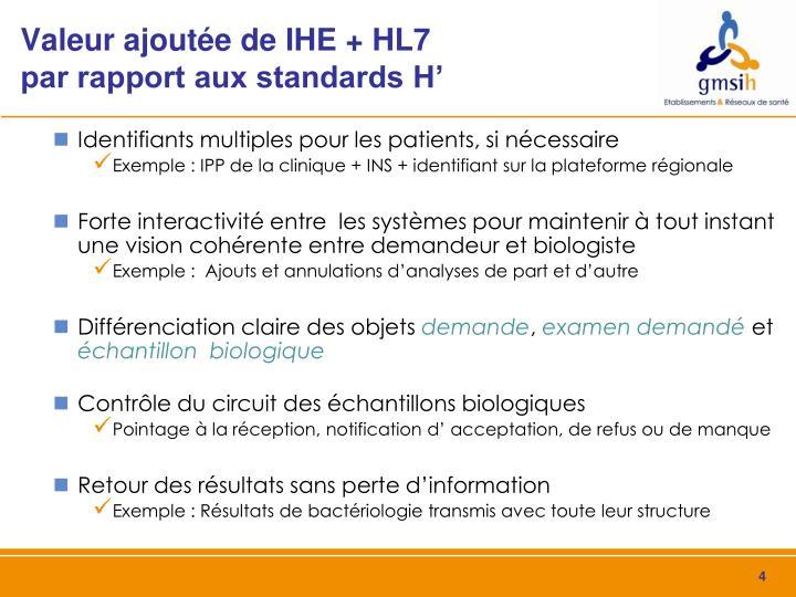 Valeur ajoutée de IHE + HL7         par rapport aux standards H'