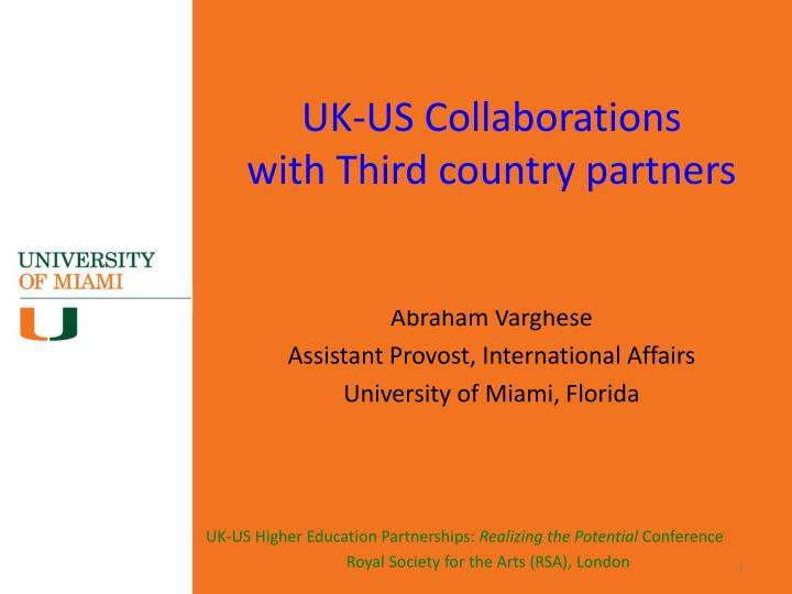 Uk us collaborations with third country partners