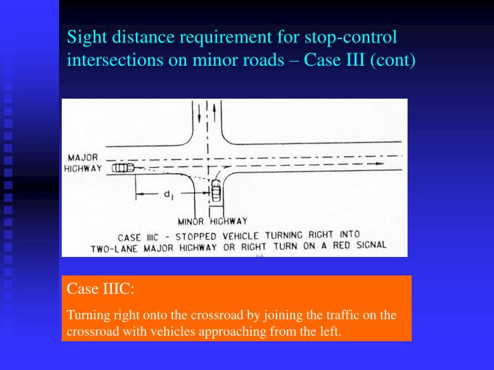 Sight distance requirement for stop-control intersections on minor roads – Case III (cont)