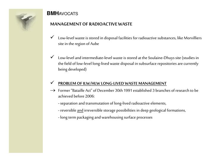 MANAGEMENT OF RADIOACTIVE WASTE