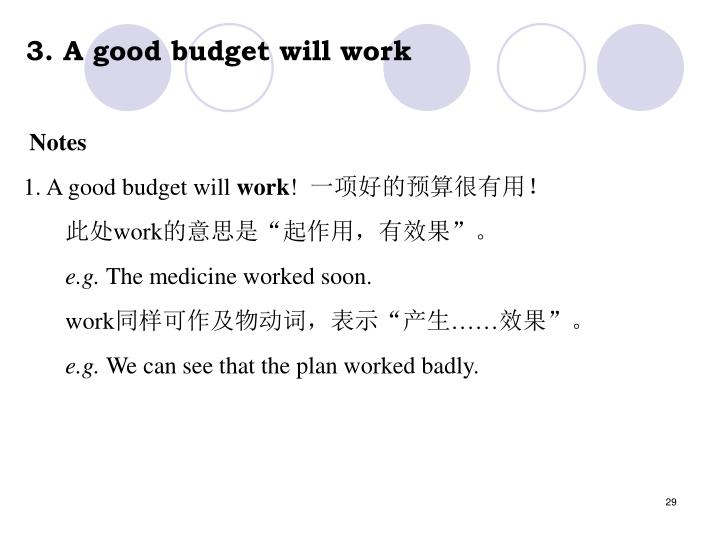 3. A good budget will work