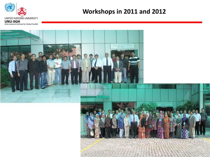 Workshops in 2011 and 2012