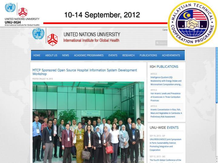 10-14 September, 2012